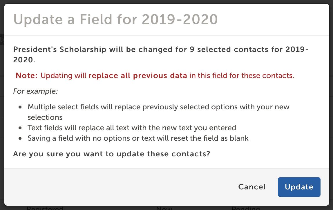 'Update a Field' modal window confirmation text.