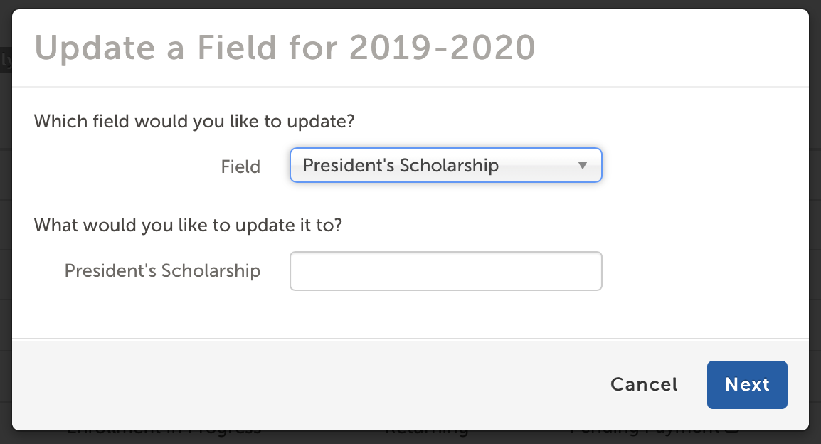 'Update a Field' modal window.