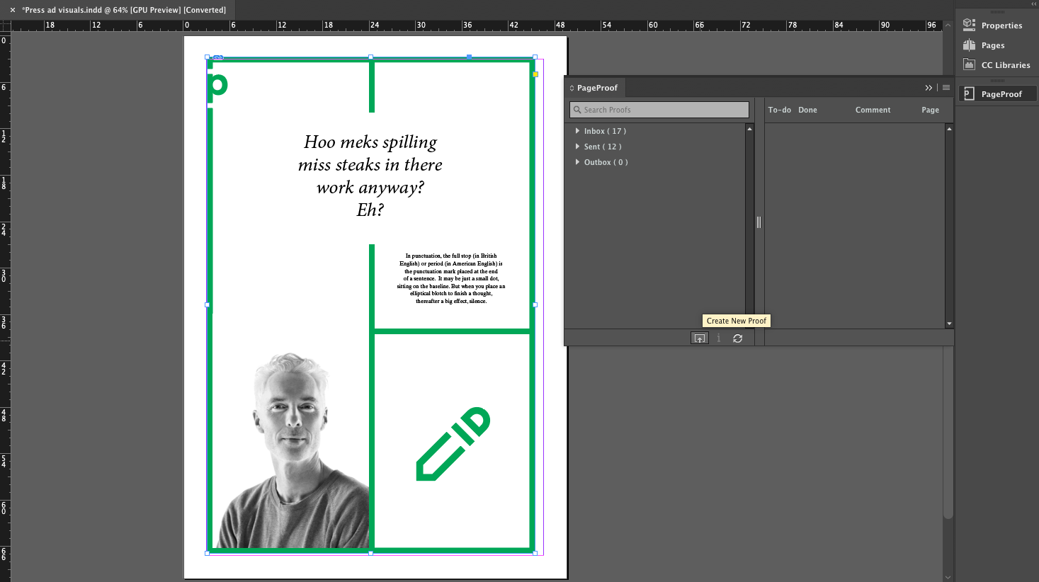 PageProof panel in Adobe InDesign