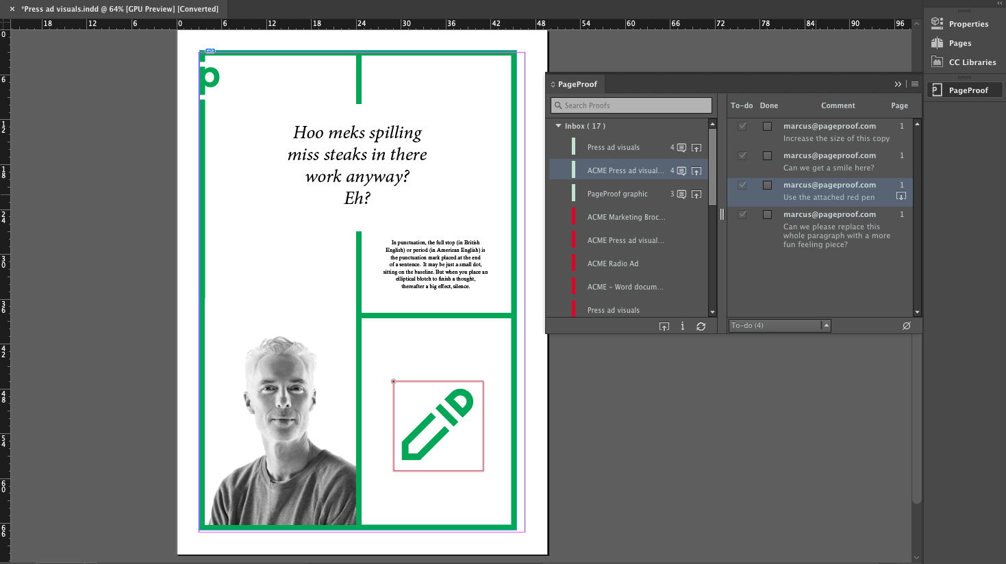 Displaying a comment's markup layered over the InDesign file