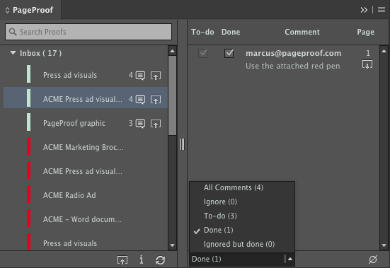 Filtering comments by status in InDesign