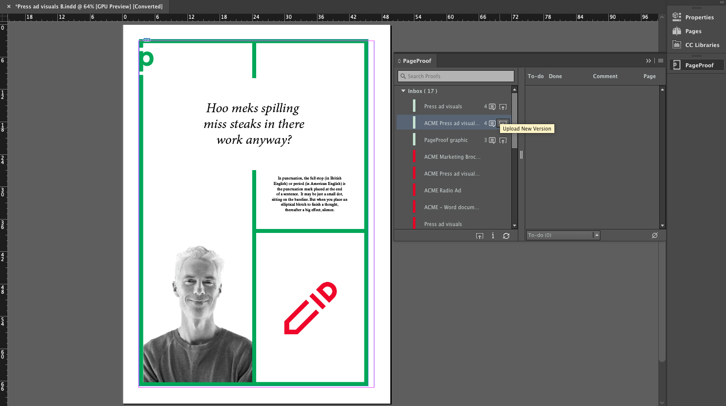Uploading a new proof version directly from Adobe InDesign