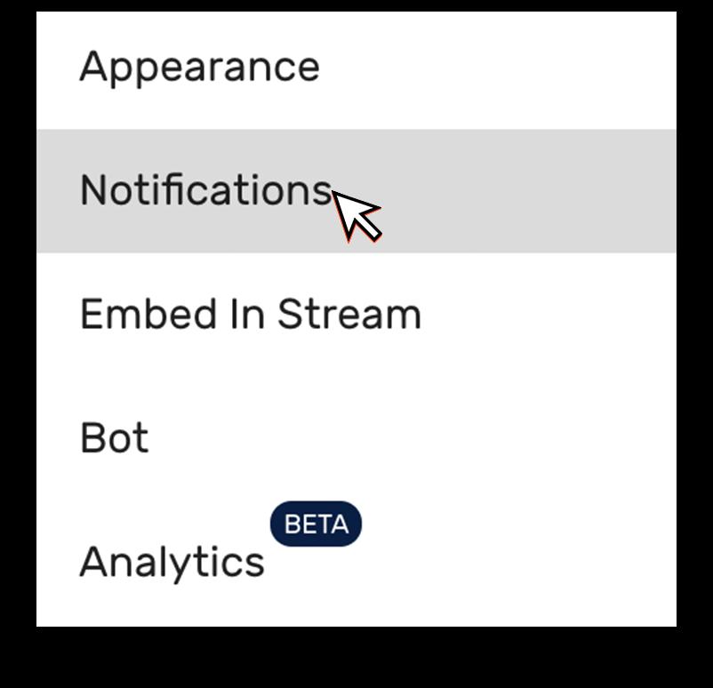 Restream Chat notification settings