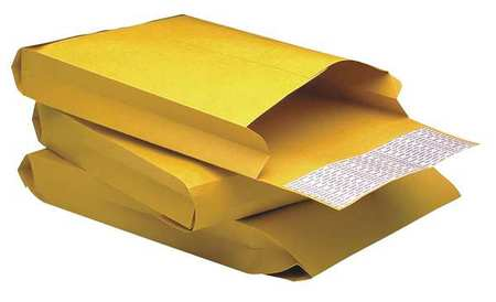 A photo of an expandable envelope. The sides are pleated which gives the envelope a third dimension, rather than it being flat.