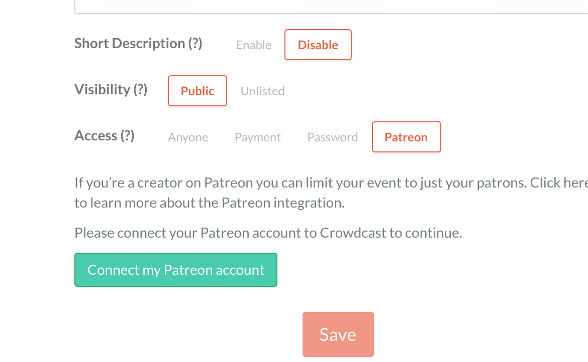Screenshot of the access options within the basic info of edit event with Patreon highlighted.