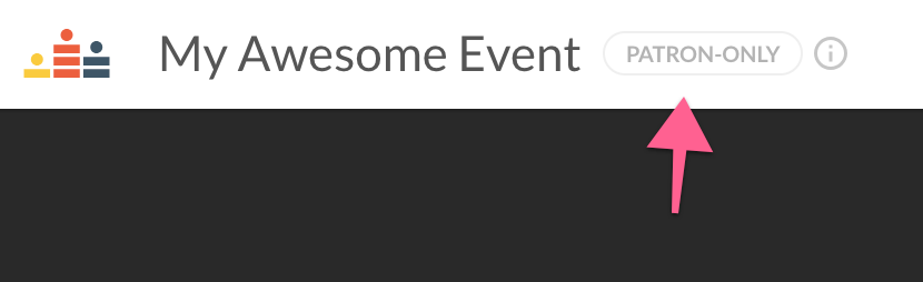 Screenshot of the Patreon-only tag next to an event title.
