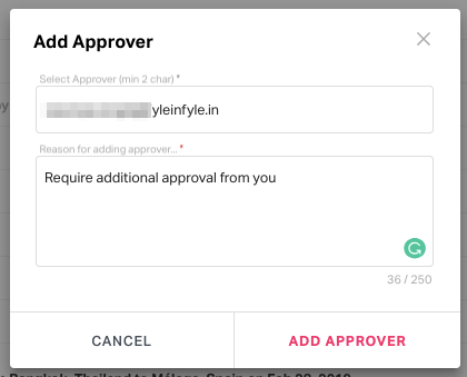 Pop up asking the reason for adding the approver.