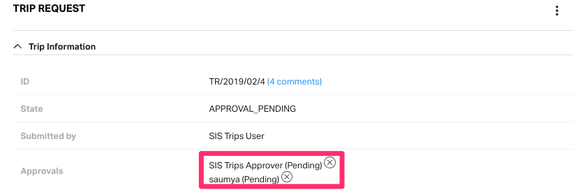 Viewing approvers for the specific trip request.