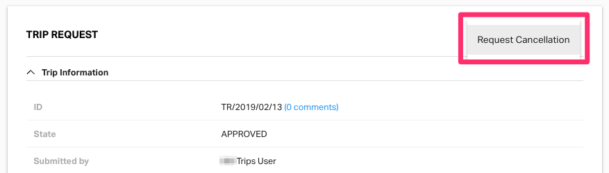 Full trip cancellation request on Fyle