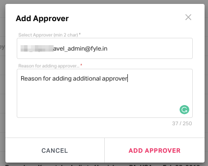Enter the additional approver's email to add him as an approver for the trip request