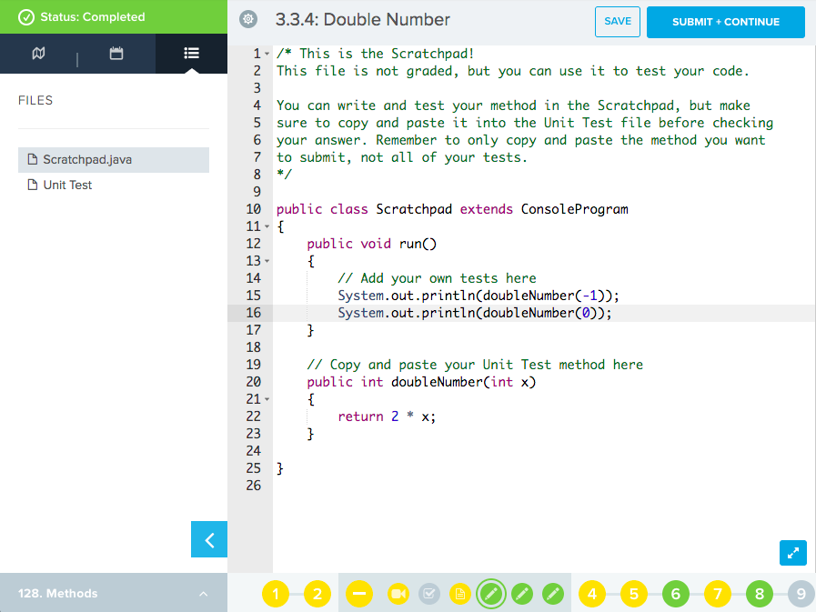 Scratch pad has sample code using tests