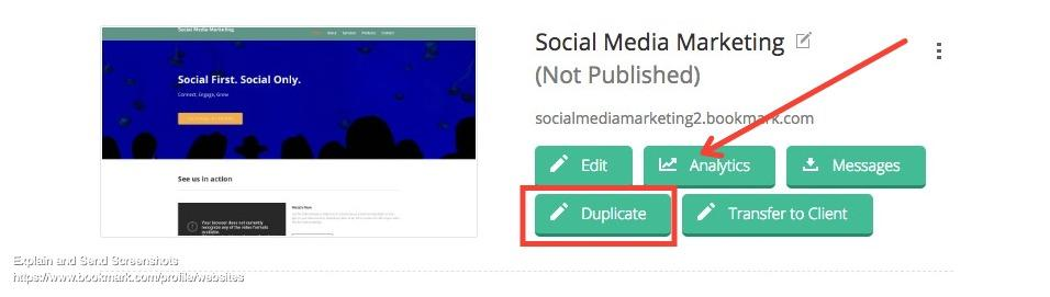 how to duplicate a bookmark website