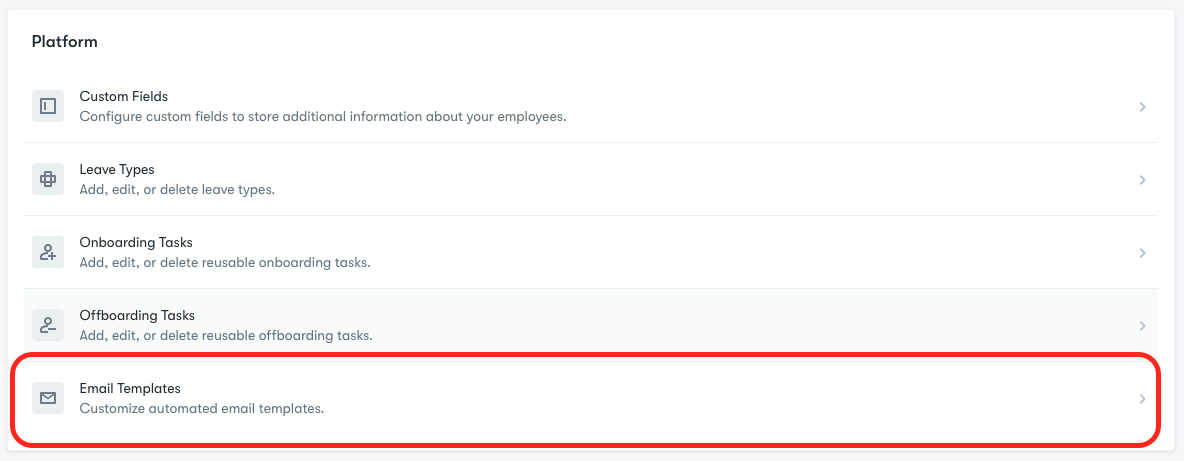 Platform submenu located within company settings.  Email templates option highlighted.