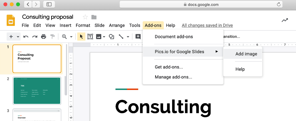 Installing Pics.io Add-ons for G Suite