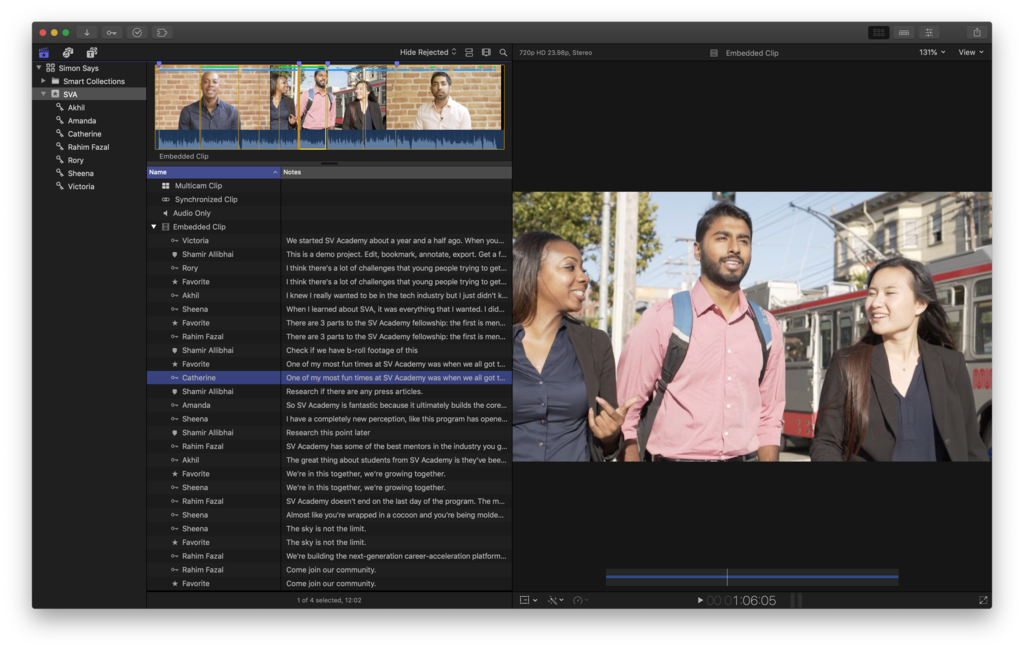 View your transcript with favorites and bookmarks in FCPX