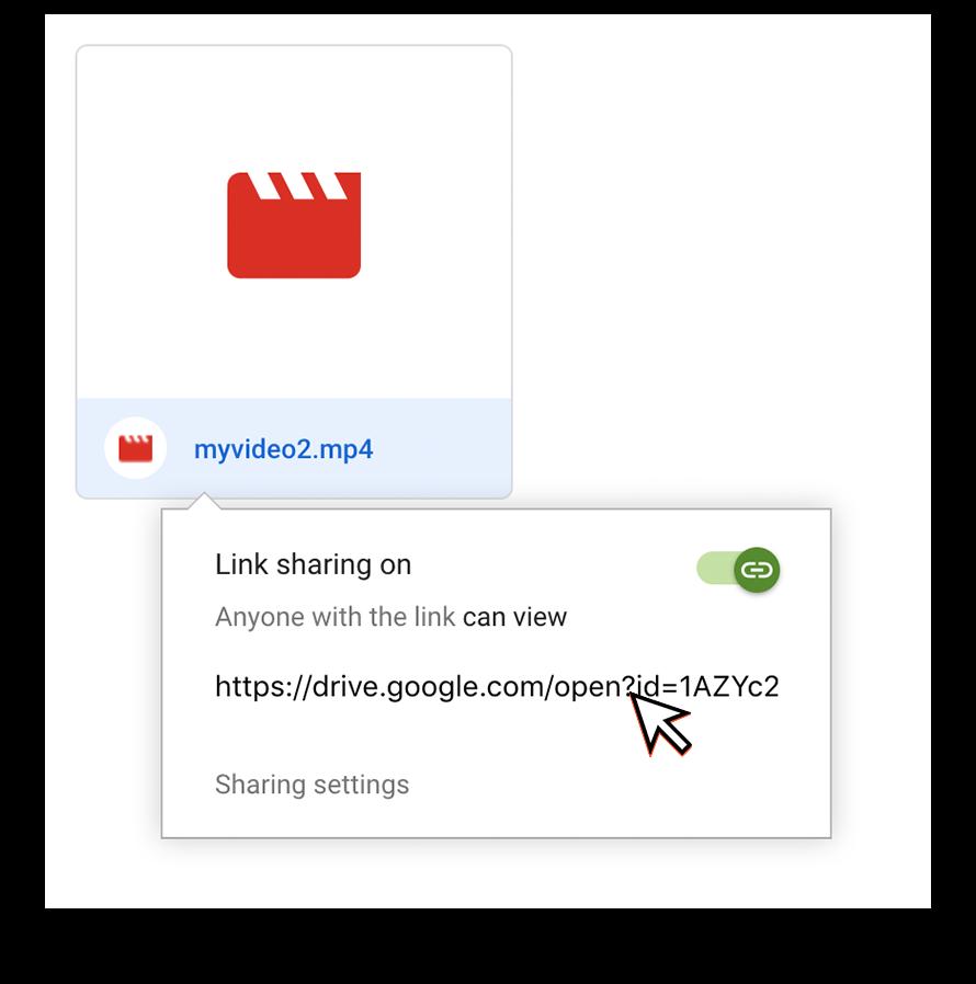 Copy sharing link