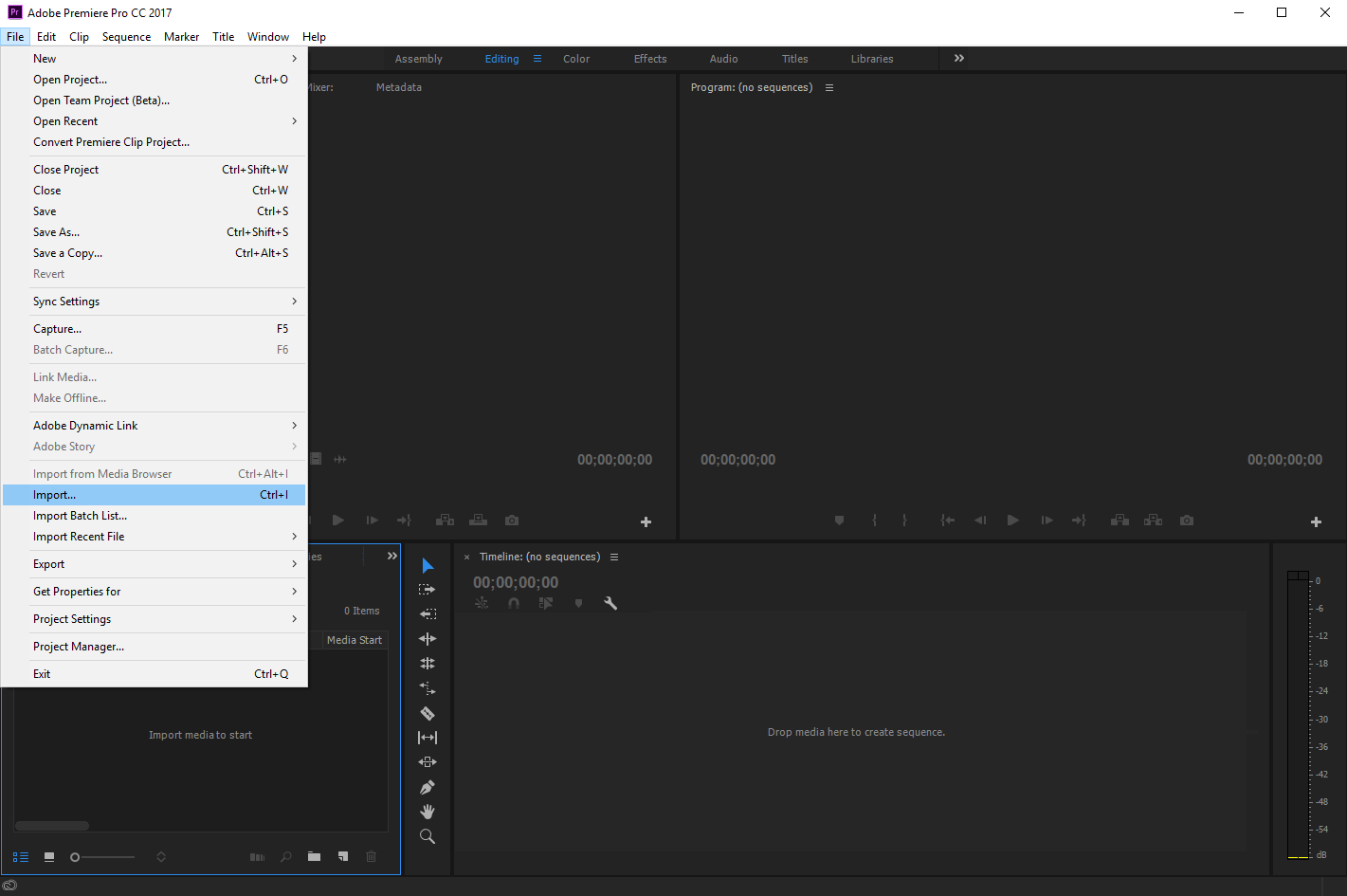 Select Import in the File menu