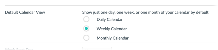 The default Calendar view section displaying the daily, weekly and monthly calendar view options.