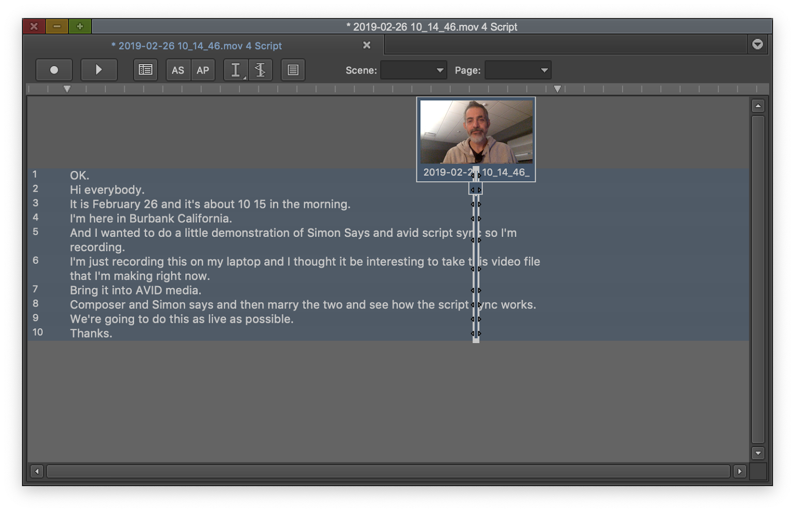 Avid creates sync marks for each line of text