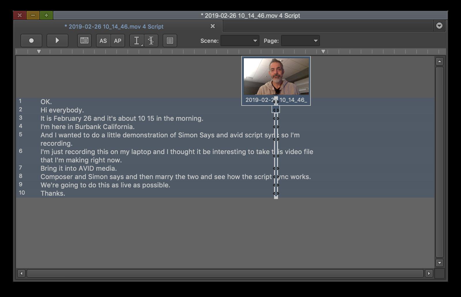 Avid creates sync marks for each line of text