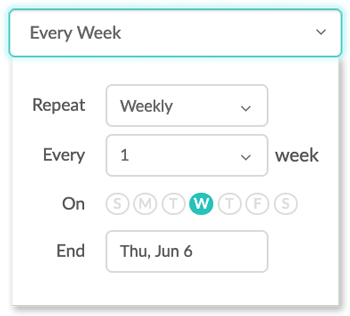 Choosing the repeat interval for a recurring appointment on the web app.
