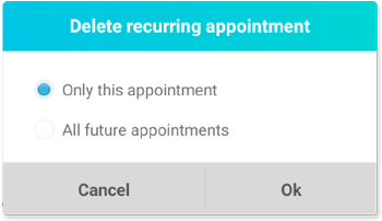 The Delete Recurring Appointment window with options to delete only one appointment or all future appointments in the series.