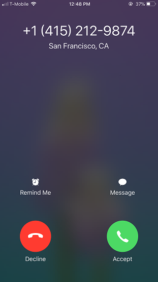 What a call from an OpenPhone number looks like