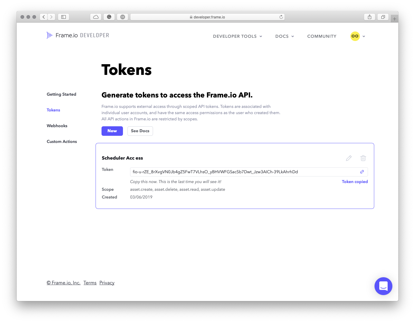 Frame.io Tokens Page