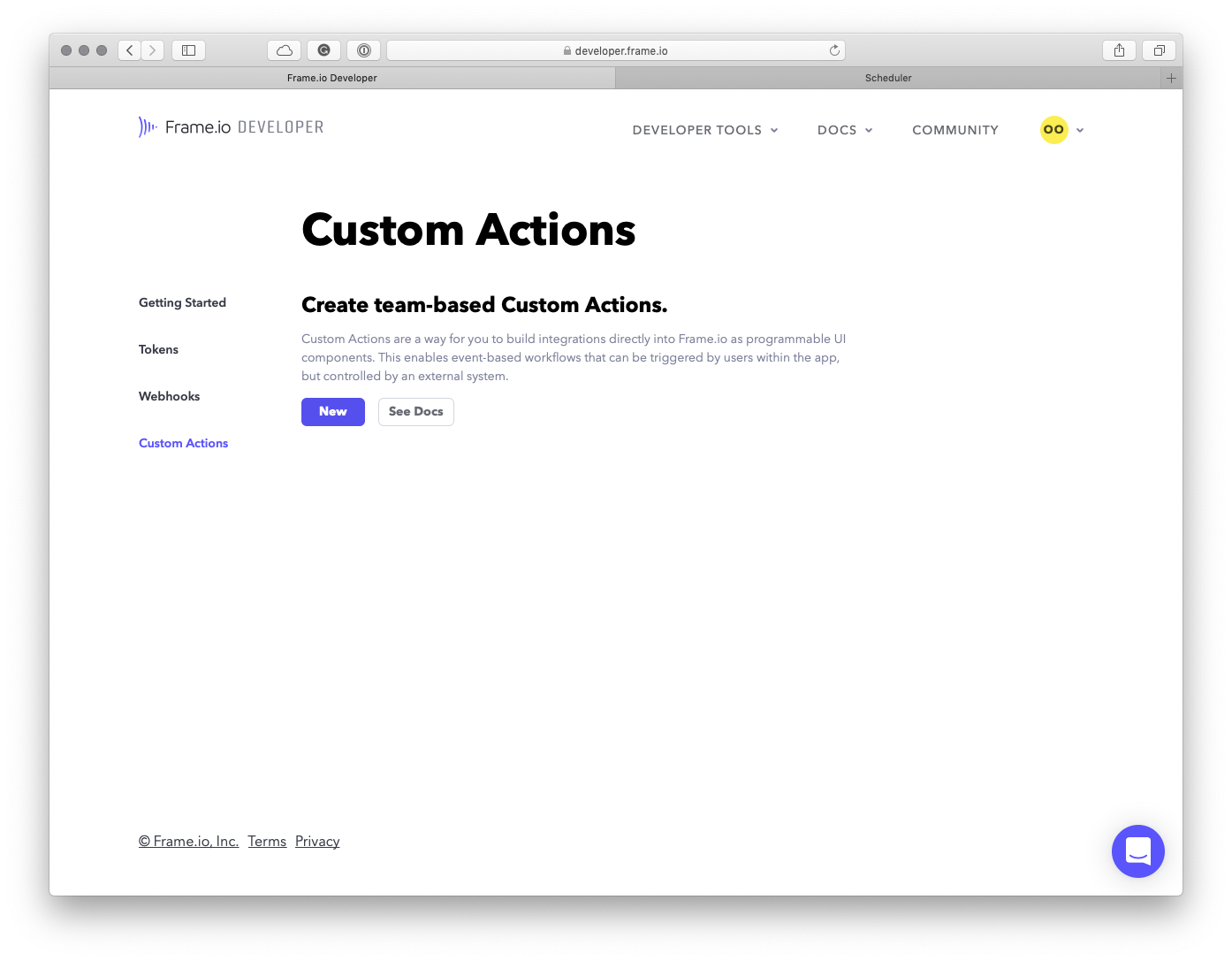 Frame.io Custom Actions page