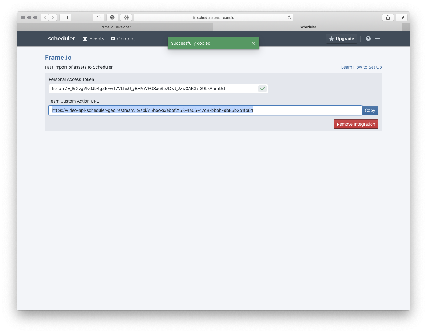 Frame.io Team Custom Action URL