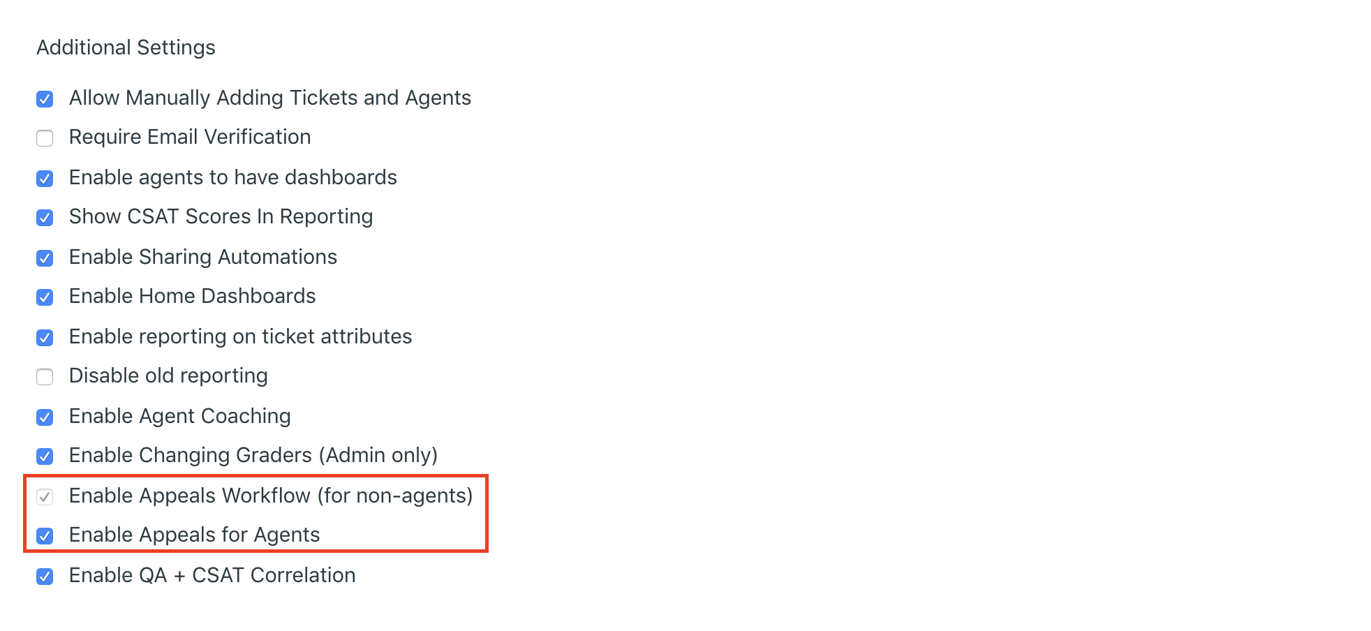 enable appeals for agents