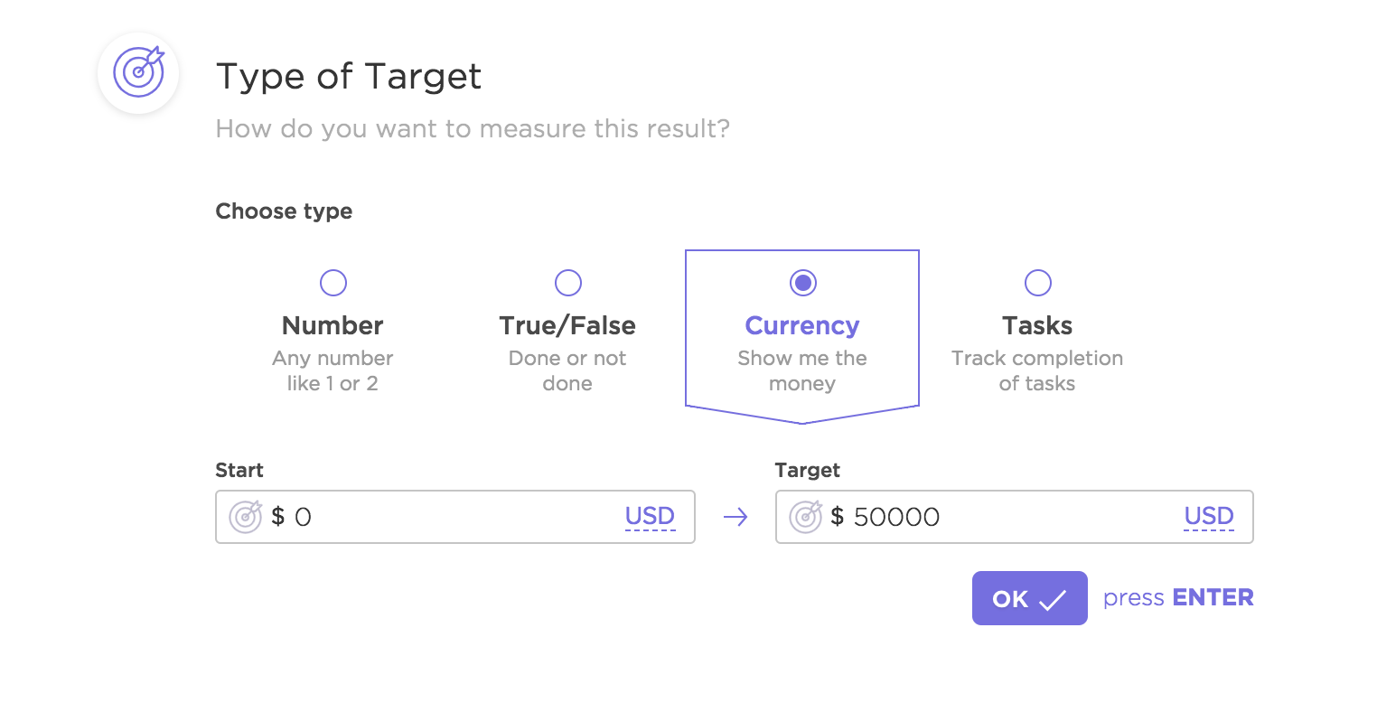 Screenshot showing a Currency target being used in a Goal
