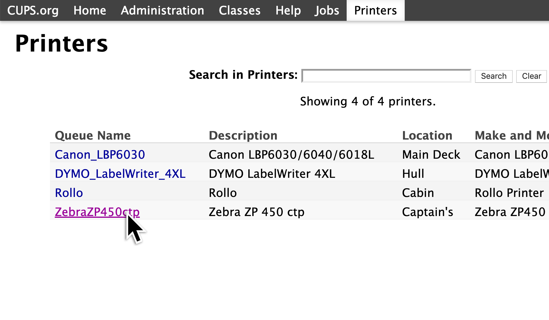 A screenshot showing all of the printers connected to your computer. The Zebra printer is listed, and it should be clicked to view that printer's settings.