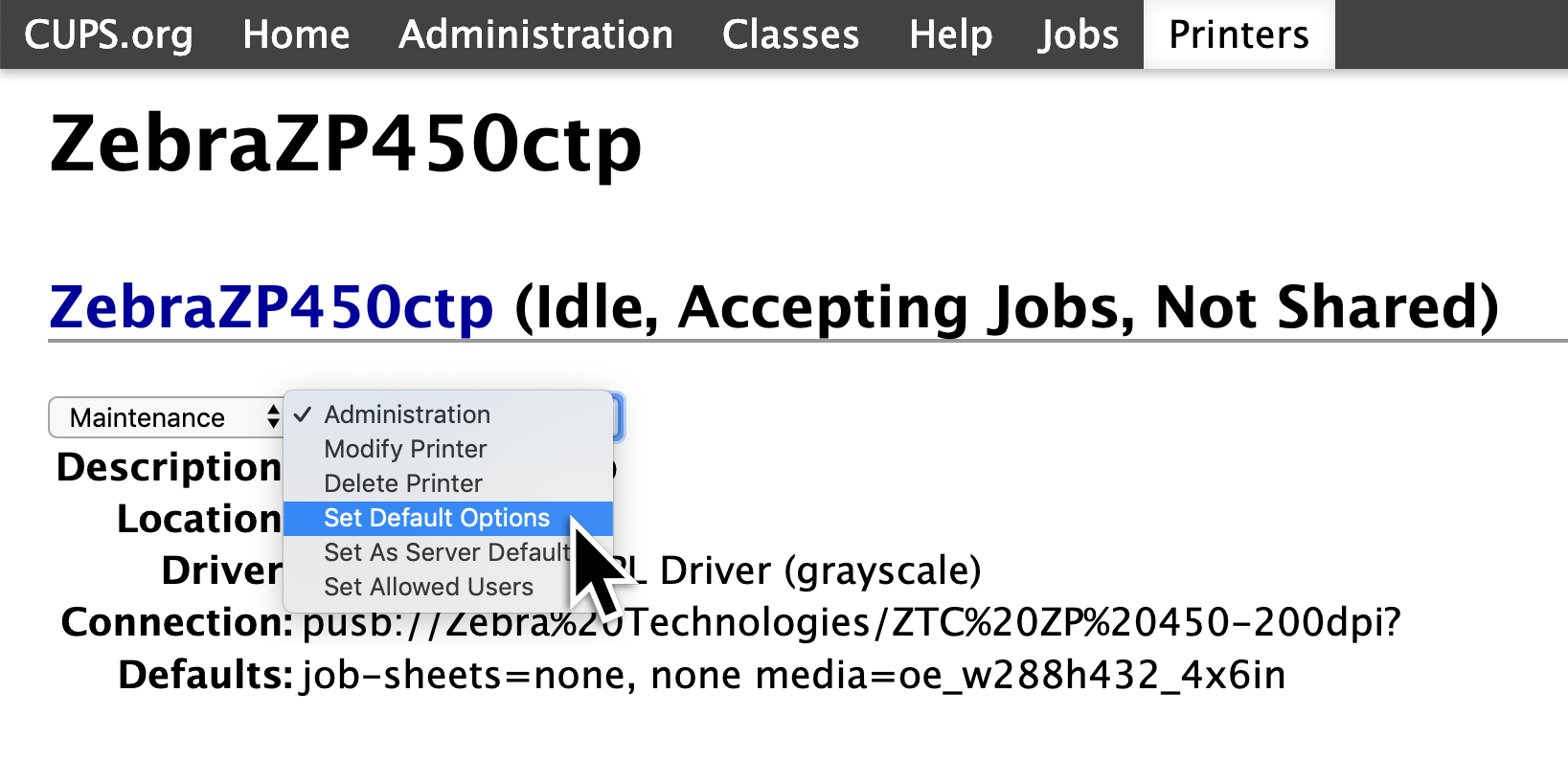 A screenshot showing a drop down menu for the Zebra Printer. In this drop down menu, the option 'Set Default Options' needs to be selected.