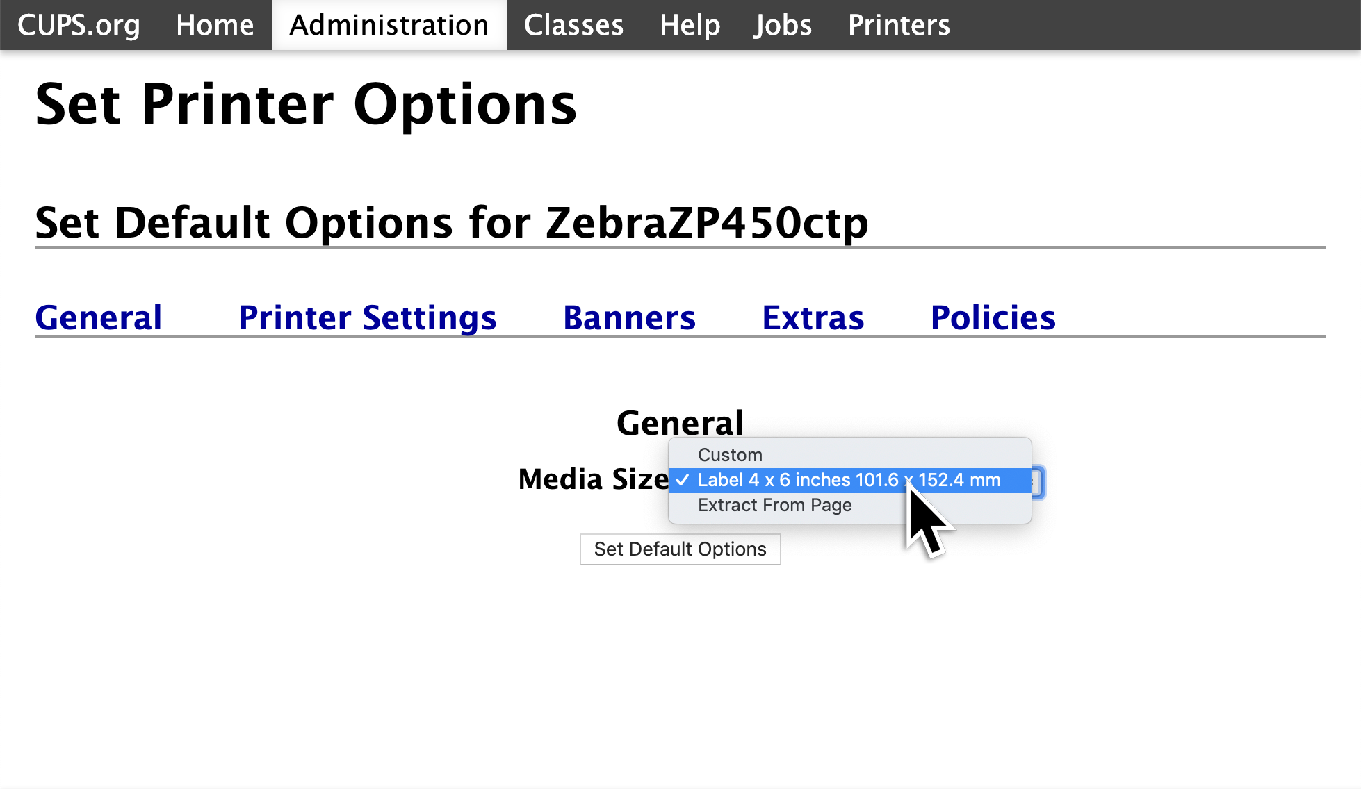 A screenshot showing the general options for the Zebra Printer. Towards the center of the page, it says 'Media Size,' with a drop down menu next to it. In this drop down menu, 4 by 6 needs to be selected.