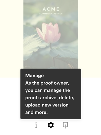 Proof tile with manage menu