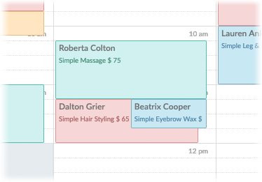 A view of two appointments booked on the same slot