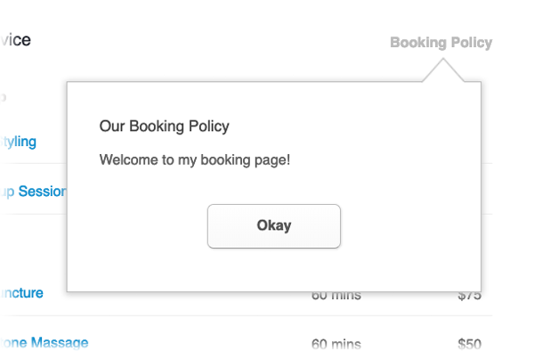 The Booking Page with the notes for customer pop-up