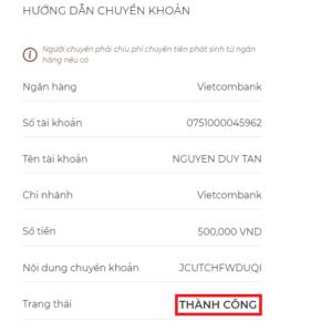 Hướng dẫn chuyển khoản mua VNT trên Fiahub