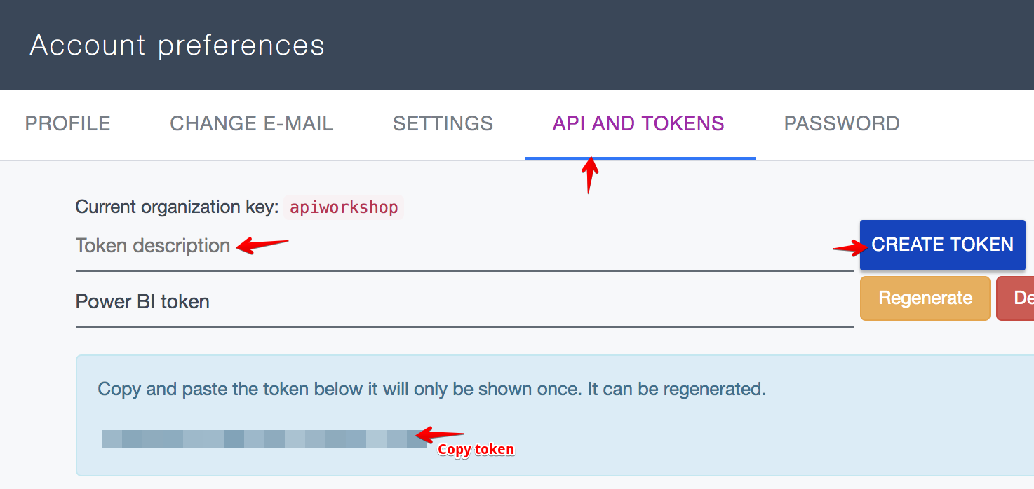 Ardoq create API token