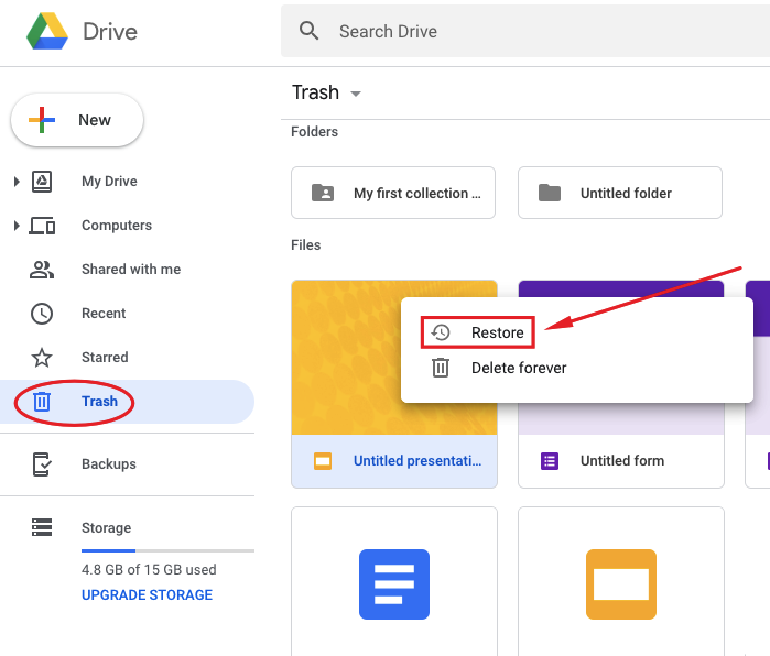 Restoring assets from Google Drive
