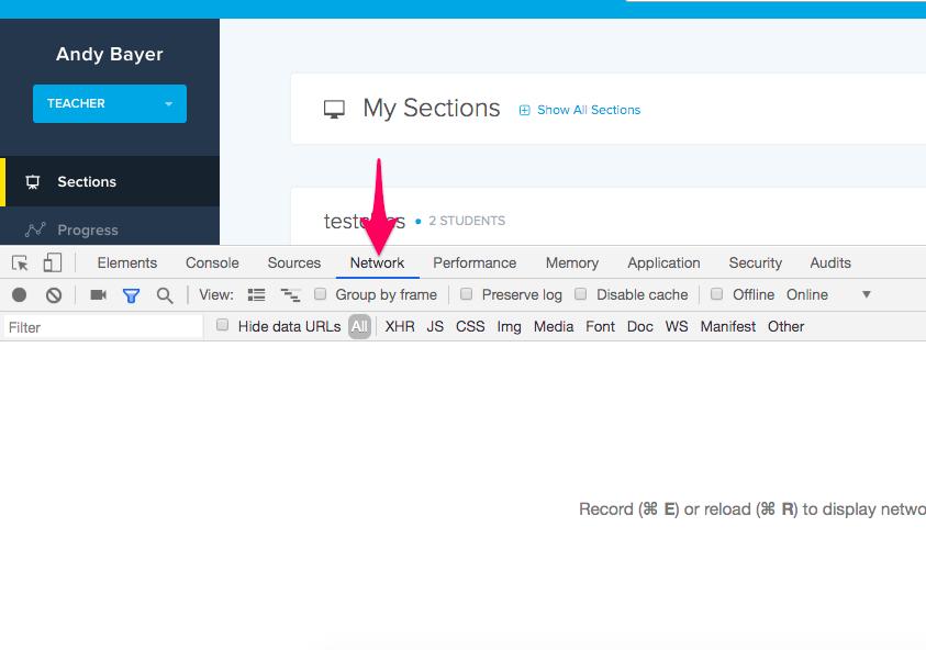 Screenshot highlighting the Network tab in Chrome Developer Tools