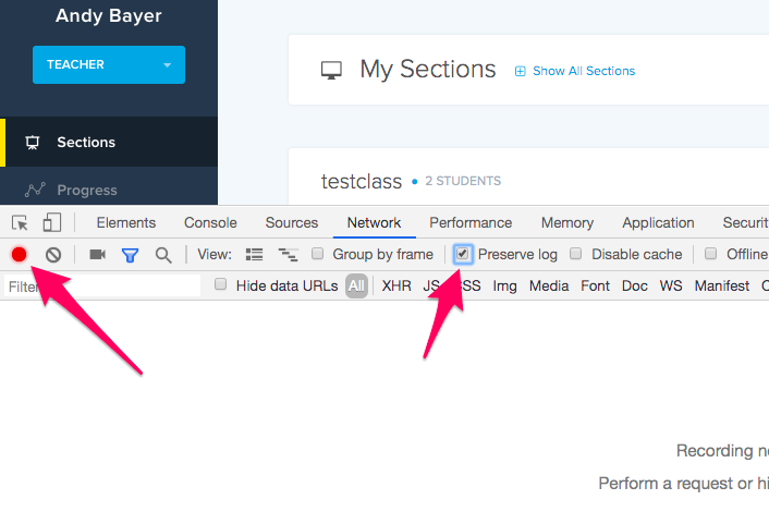 Screenshot highlighting Recording button and the Preserve Log box to check