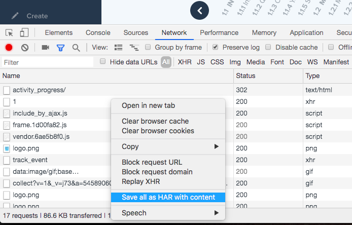 Screenshot highlighting how to Save all as HAR with content