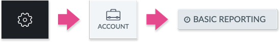The Settings, Account and Basic Reporting icons