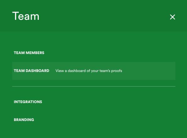 Team menu