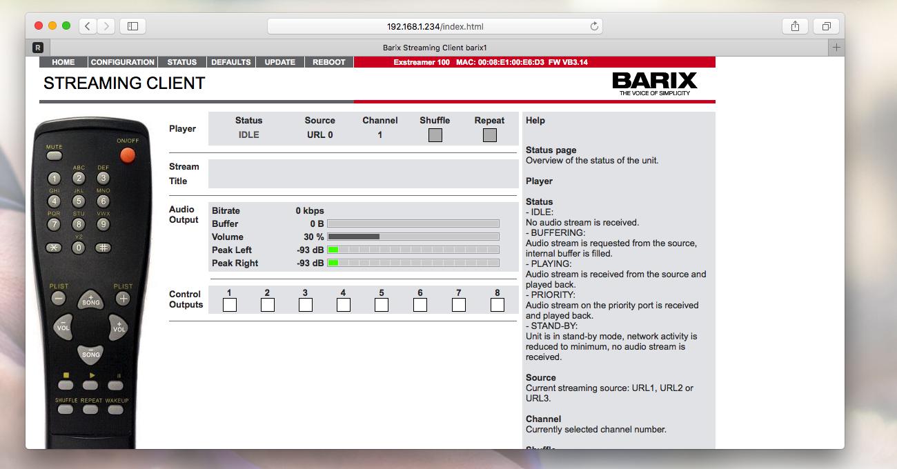 Barix Exstreamer management software.