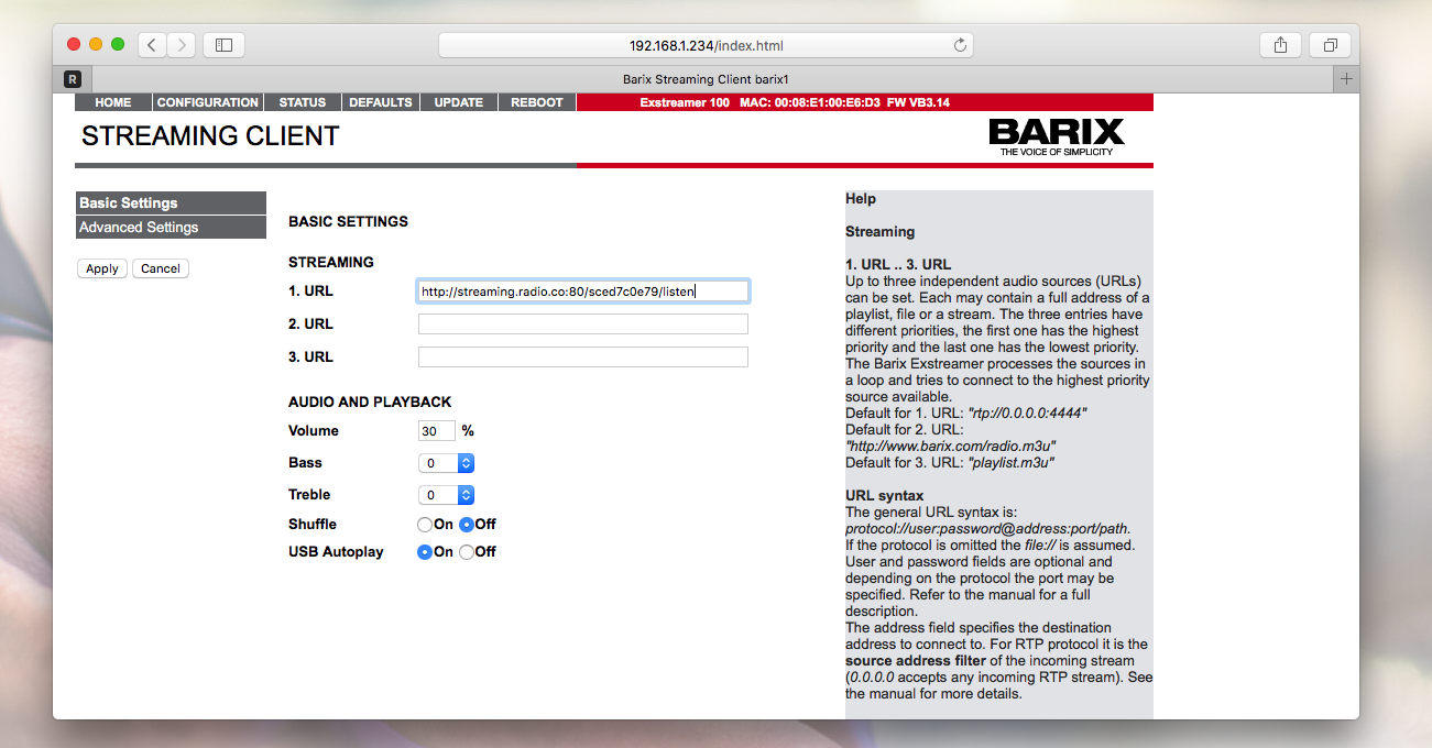 Adding streaming link to Barix.