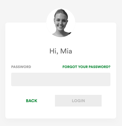 Forgot your password on the login screen