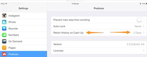posBoss App Settings - Retain History on Cash Up